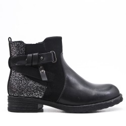 Bi-material black ankle boot with elasticated upper