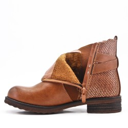 Bi-material camel ankle boot with elasticated upper