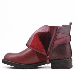 Bi-material red wine ankle boot with elasticated upper