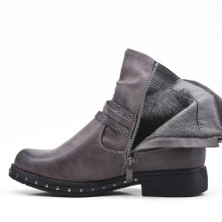 Gray faux leather ankle boot