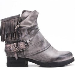 Gray leather ankle boot with bangs