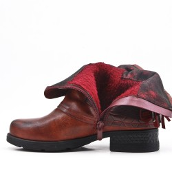 Red wine imitation leather ankle boot with bangs