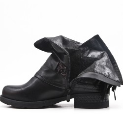Black ankle boot in faux leather with bangs