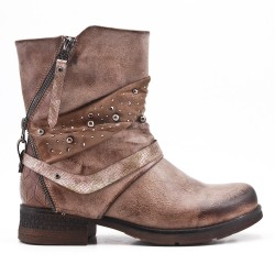Khaki imitation leather ankle boot with pearl