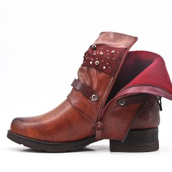 Brown imitation leather ankle boot with pearl