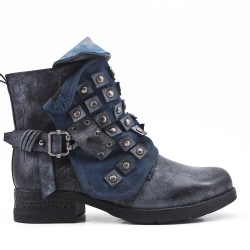 Blue faux leather ankle boot