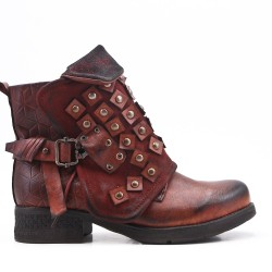 Brown faux leather ankle boot