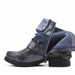 Blue imitation leather ankle boot with pearl