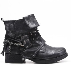 Black imitation leather ankle boot with pearl