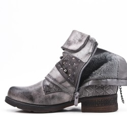 Gray imitation leather ankle boot with pearl