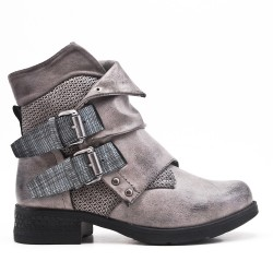 Gray leather ankle boot with buckled bridle