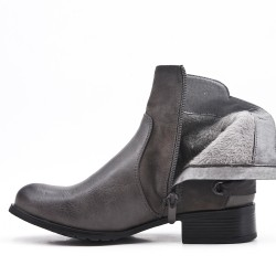 Gray imitation leather ankle boot with bow at the back