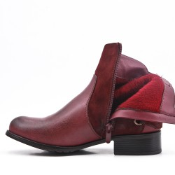 Red wine imitation leather ankle boot with bow at the back