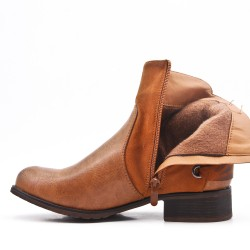 Camel imitation leather ankle boot with bow at the back
