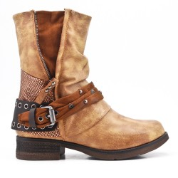 Camel faux leather boot with buckled straps