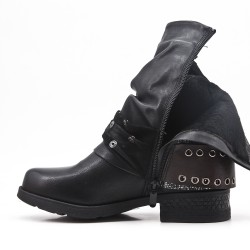 Black faux leather boot with buckled straps