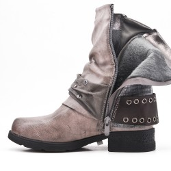 Gray faux leather boot with buckled straps