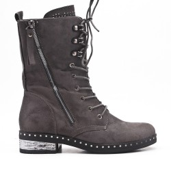 Lace-up suede gray boot