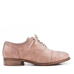Khaki faux leather lace-up derby