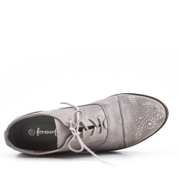 Gray faux leather lace-up derby