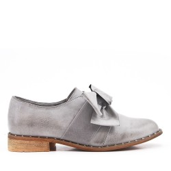 Gray faux leather derby with bow