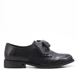 Black faux leather derby with bow