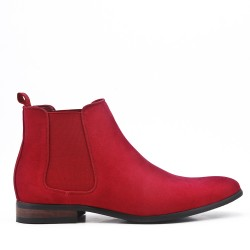 Red suede faux ankle boot with elastic inset
