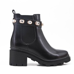 Black faux ankle boot with rhinestone strap