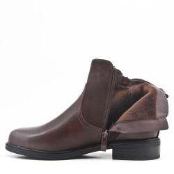 Bi-material coffee double zip boot