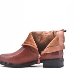 Bi-material camel double zip boot