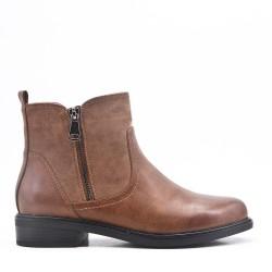 Bi-material khaki double zip boot