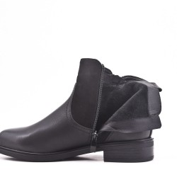 Bi-material black double zip boot