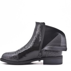 Black faux leather ankle boot with double zipper