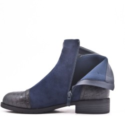 Bi-material blue double zip boot