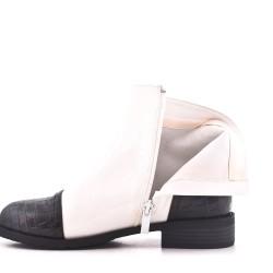 Bi-material white double zip boot