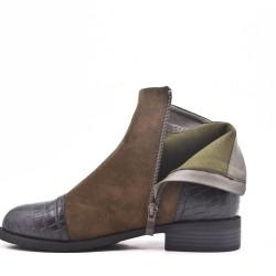 Bi-material green double zip boot