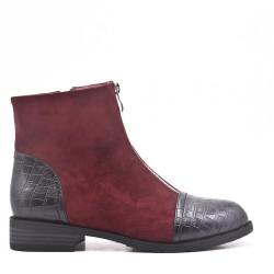 Bi-material red double zip boot