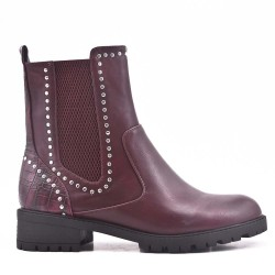 Red wine ankle boot in elasticated leatherette