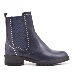Blue ankle boot in elasticated leatherette