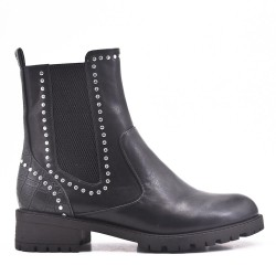 Black ankle boot in elasticated leatherette