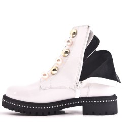White patent lace boot