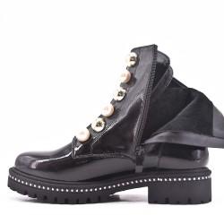 Black patent lace boot