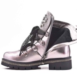 Gray imitation leather ankle boot with studs on the tip