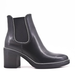 Black imitation leather ankle boot