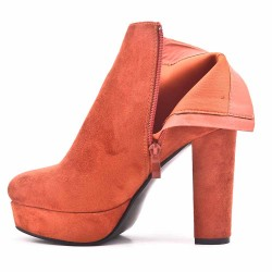 Orange ankle boot in faux suede with heel and platform