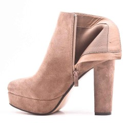 Khaki ankle boot in faux suede with heel and platform