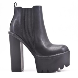 Black imitation leather ankle boot with platform
