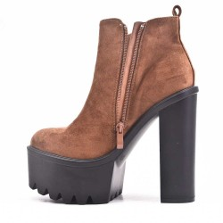 Camel ankle boot in faux suede with heel and platform