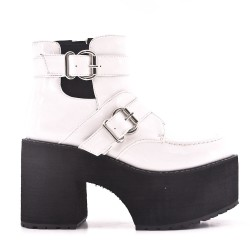 White ankle boot in thick heel with platform