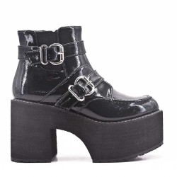 Black ankle boot in thick heel with platform
